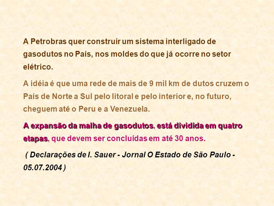 A Petrobras quer construir um sistema interligado de gasodutos no País, nos moldes do que já ocorre no setor elétrico.