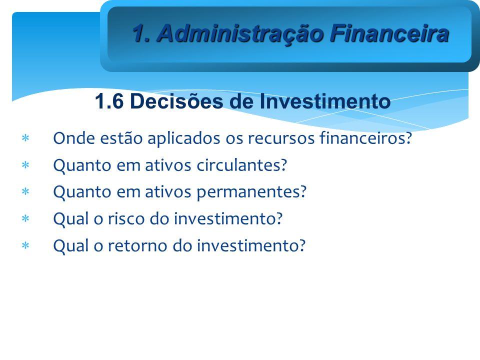 1. Administração Financeira 1.6 Decisões de Investimento