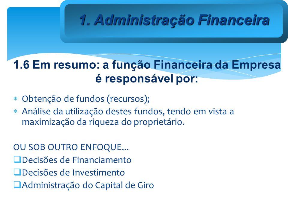 1.6 Em resumo: a função Financeira da Empresa é responsável por: