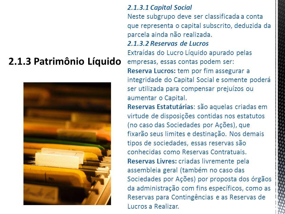 2.1.3 Patrimônio Líquido 2.1.3.1 Capital Social
