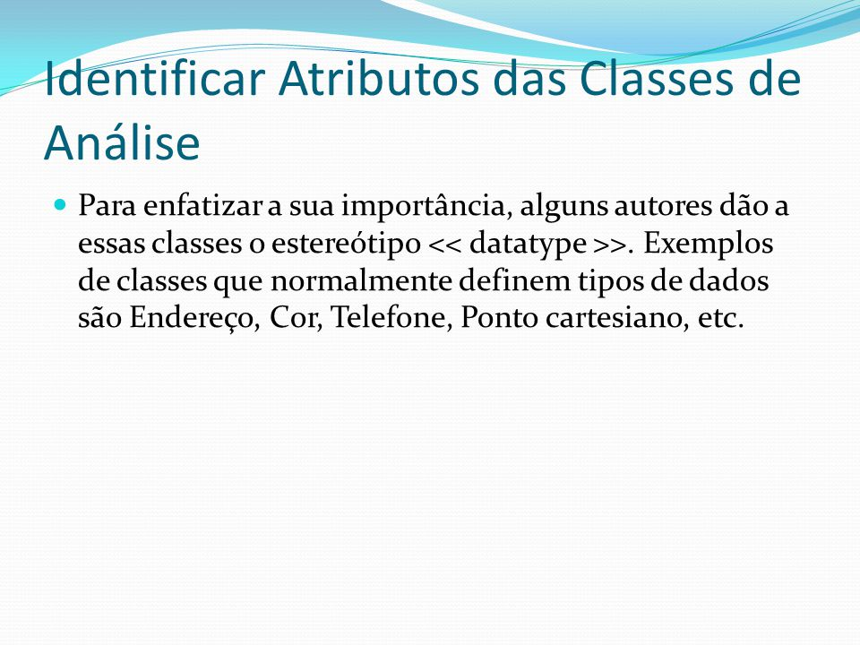 Identificar Atributos das Classes de Análise