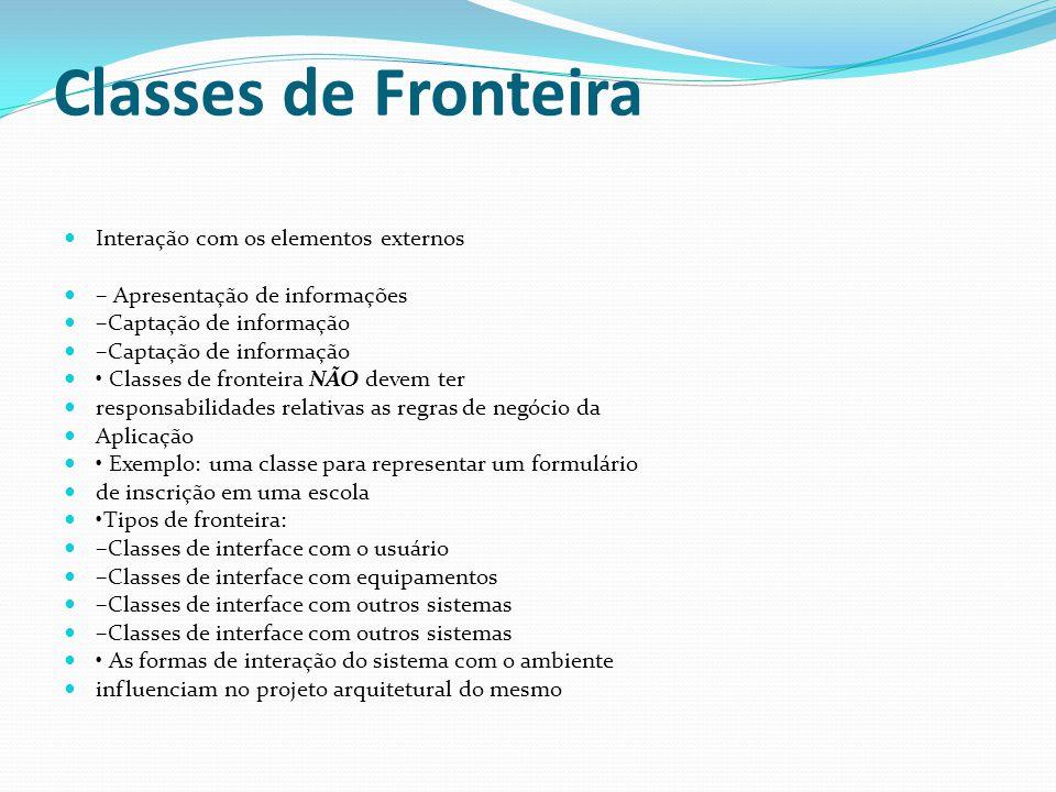 Classes de Fronteira Interação com os elementos externos