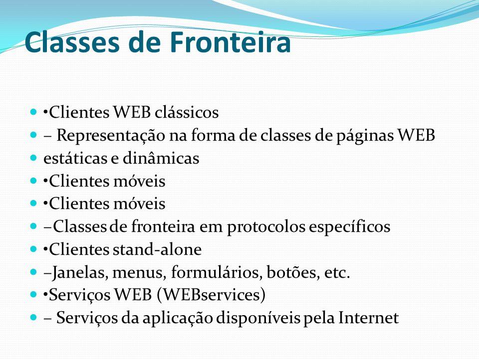 Classes de Fronteira •Clientes WEB clássicos