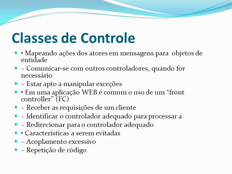 Classes de Controle • Mapeando ações dos atores em mensagens para objetos de entidade.
