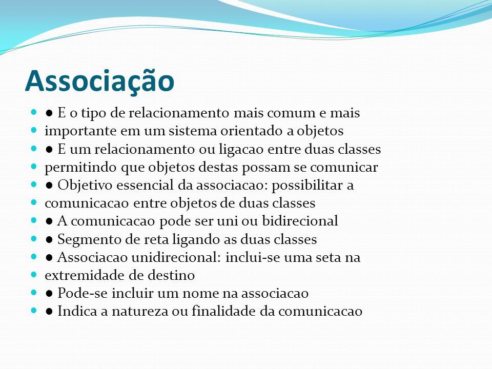 Associação ● E o tipo de relacionamento mais comum e mais