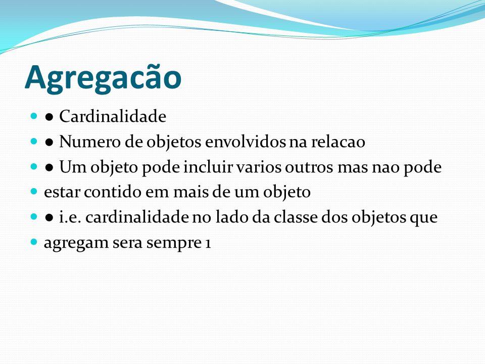 Agregacão ● Cardinalidade ● Numero de objetos envolvidos na relacao