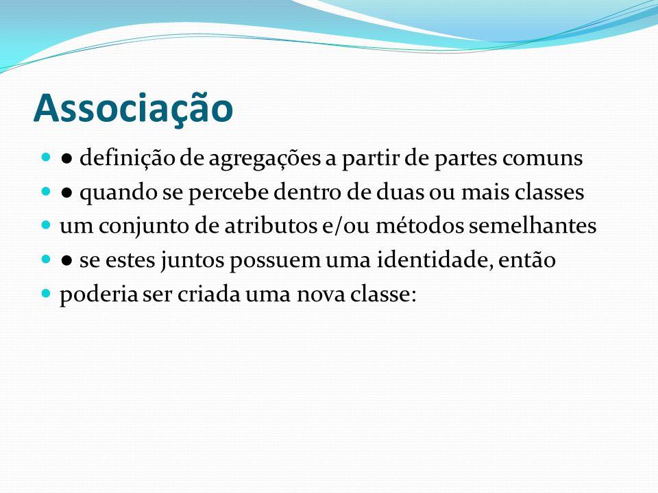 Associação ● definição de agregações a partir de partes comuns