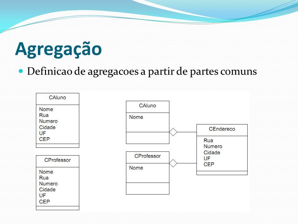 Agregação Definicao de agregacoes a partir de partes comuns