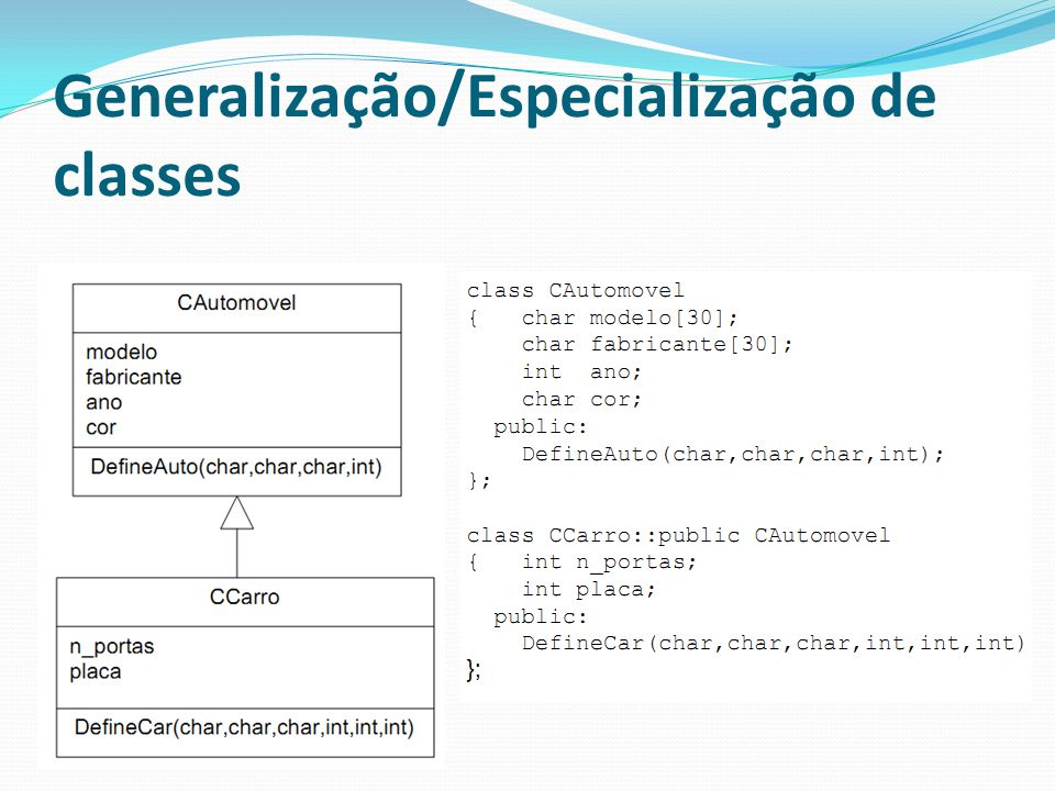 Generalização/Especialização de classes