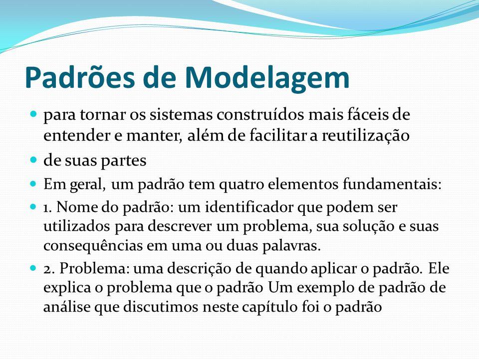 Padrões de Modelagem para tornar os sistemas construídos mais fáceis de entender e manter, além de facilitar a reutilização.