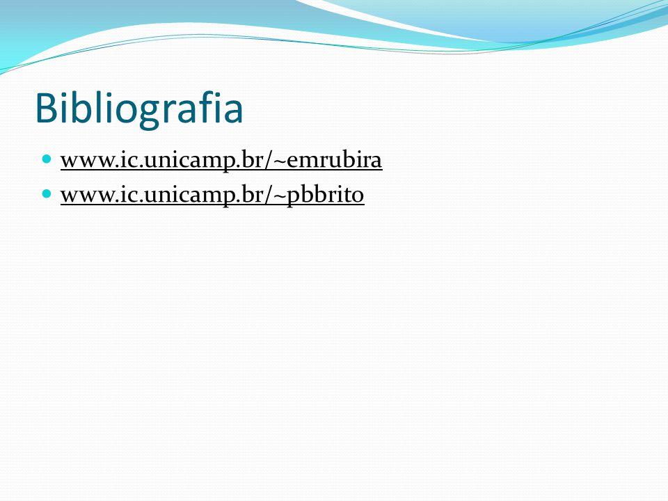 Bibliografia www.ic.unicamp.br/~emrubira www.ic.unicamp.br/~pbbrito