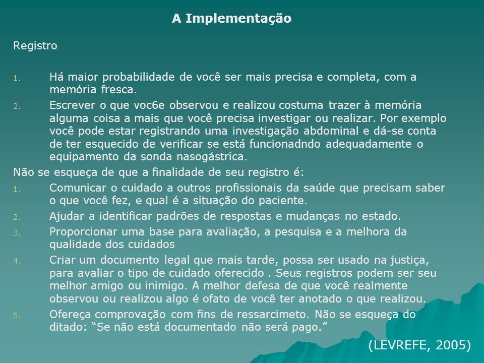 A Implementação (LEVREFE, 2005) Registro