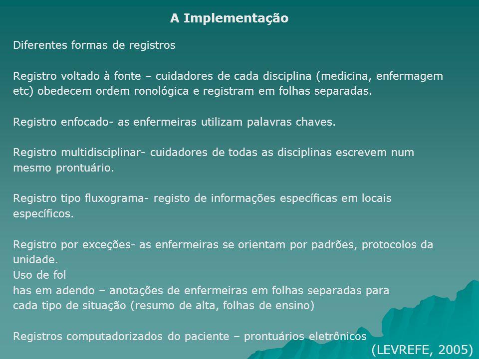 A Implementação (LEVREFE, 2005) Diferentes formas de registros
