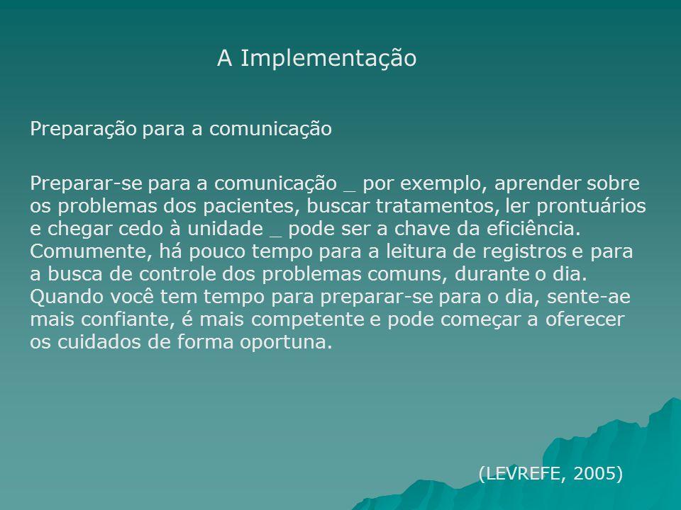 A Implementação Preparação para a comunicação