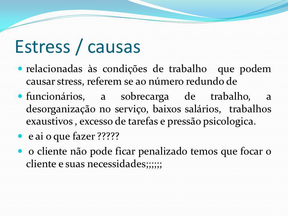Estress / causas relacionadas às condições de trabalho que podem causar stress, referem se ao número redundo de.
