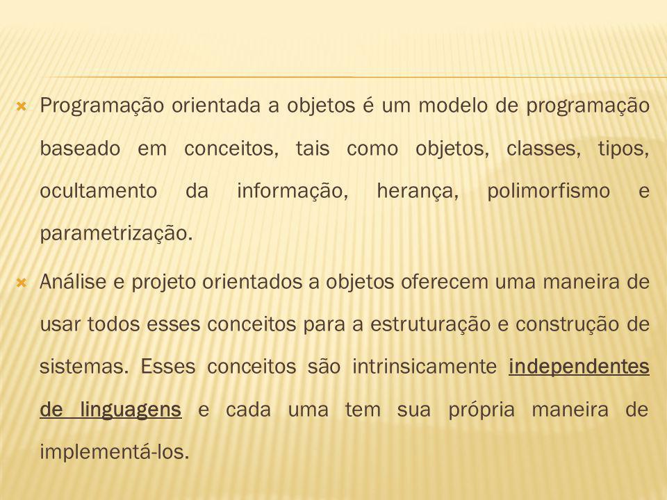 Programação orientada a objetos é um modelo de programação baseado em conceitos, tais como objetos, classes, tipos, ocultamento da informação, herança, polimorfismo e parametrização.