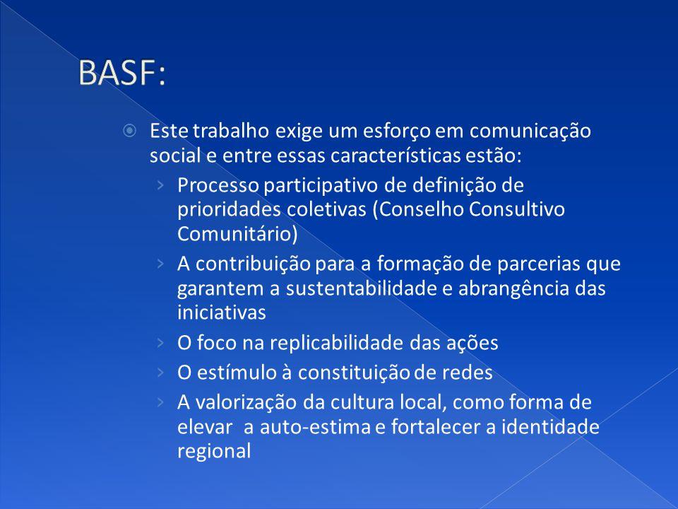 BASF: Este trabalho exige um esforço em comunicação social e entre essas características estão: