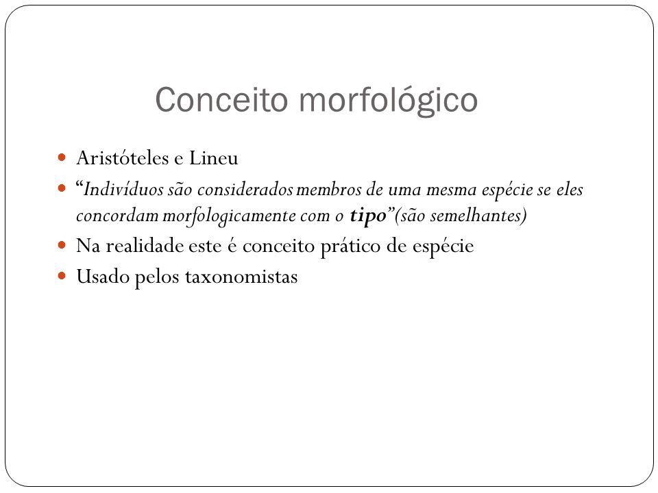 Conceito morfológico Aristóteles e Lineu