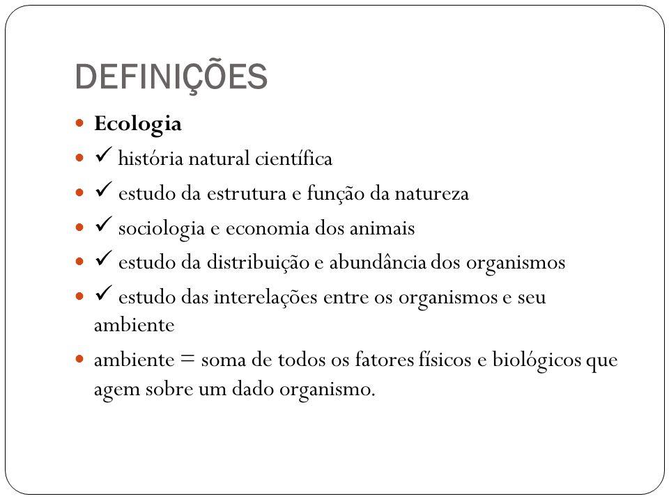 DEFINIÇÕES Ecologia  história natural científica