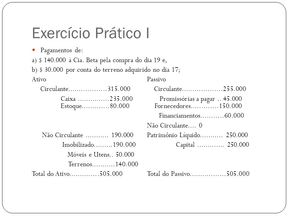 Exercício Prático I Pagamentos de: