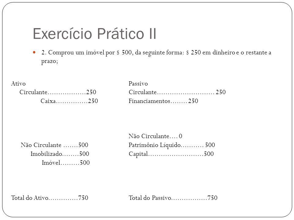 Exercício Prático II 2. Comprou um imóvel por $ 500, da seguinte forma: $ 250 em dinheiro e o restante a prazo;