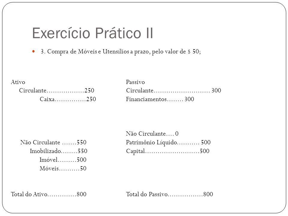 Exercício Prático II 3. Compra de Móveis e Utensílios a prazo, pelo valor de $ 50; Ativo Passivo.
