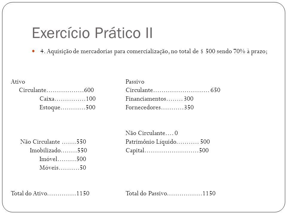 Exercício Prático II 4. Aquisição de mercadorias para comercialização, no total de $ 500 sendo 70% à prazo;