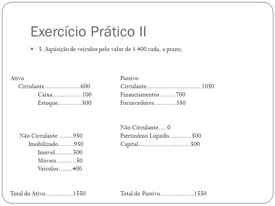 Exercício Prático II 5. Aquisição de veículos pelo valor de $ 400 cada, a prazo; Ativo Passivo.