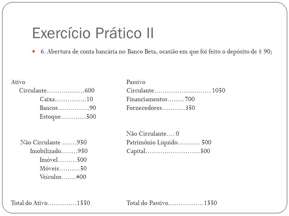 Exercício Prático II 6. Abertura de conta bancária no Banco Beta, ocasião em que foi feito o depósito de $ 90;