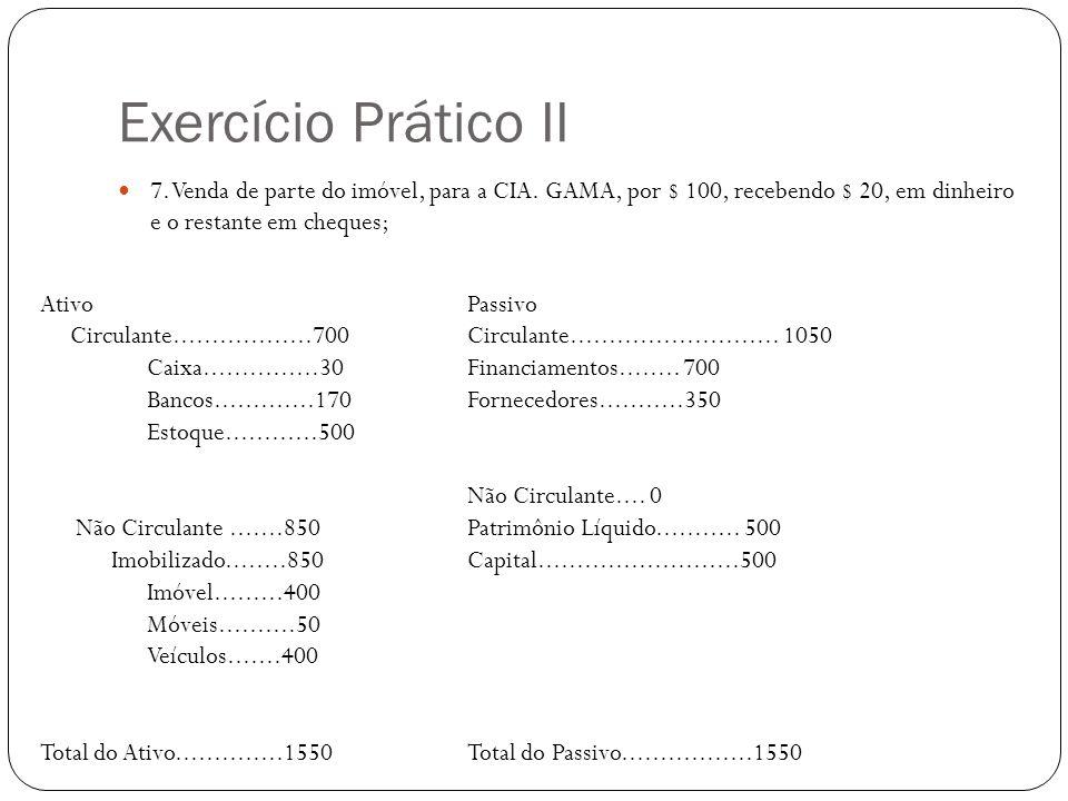 Exercício Prático II 7. Venda de parte do imóvel, para a CIA. GAMA, por $ 100, recebendo $ 20, em dinheiro e o restante em cheques;