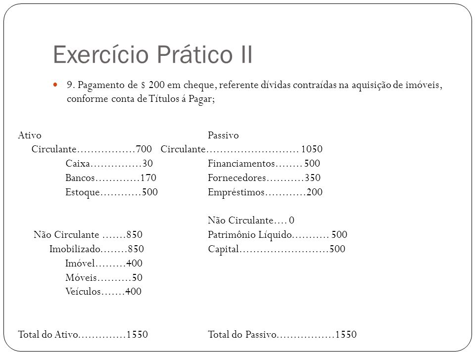 Exercício Prático II 9. Pagamento de $ 200 em cheque, referente dívidas contraídas na aquisição de imóveis, conforme conta de Títulos á Pagar;