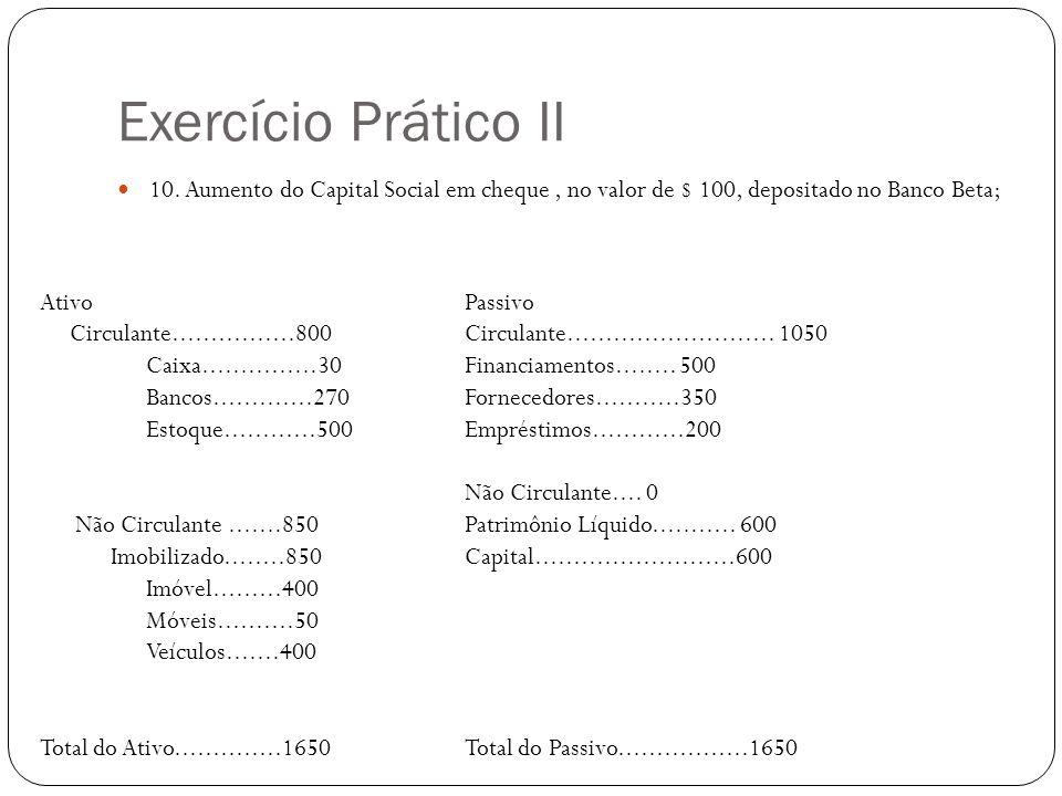 Exercício Prático II 10. Aumento do Capital Social em cheque , no valor de $ 100, depositado no Banco Beta;
