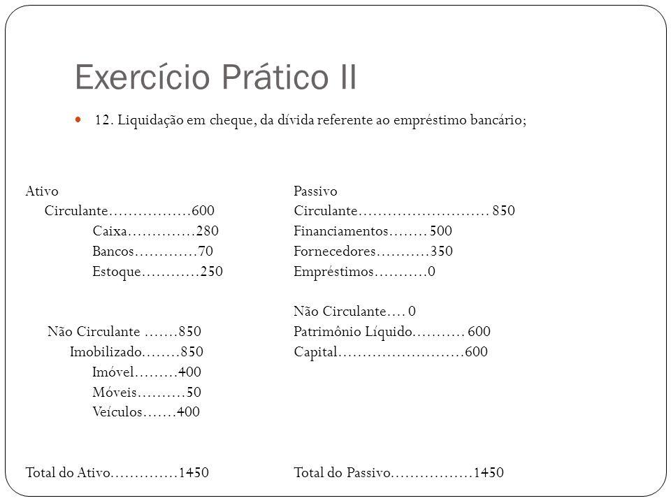 Exercício Prático II 12. Liquidação em cheque, da dívida referente ao empréstimo bancário; Ativo Passivo.