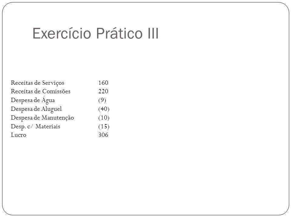 Exercício Prático III Receitas de Serviços 160