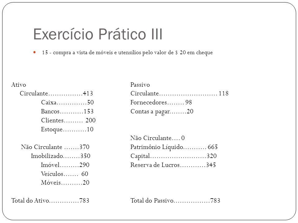Exercício Prático III Ativo Passivo