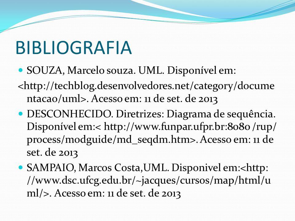 BIBLIOGRAFIA SOUZA, Marcelo souza. UML. Disponível em: