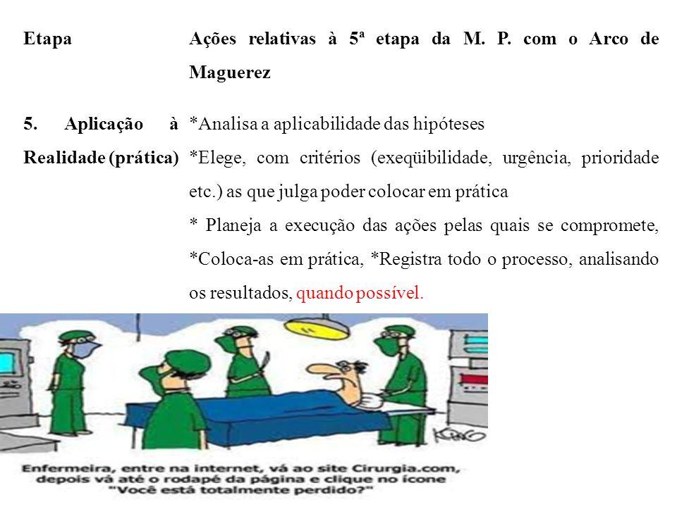 Etapa Ações relativas à 5ª etapa da M. P. com o Arco de Maguerez. 5. Aplicação à Realidade (prática)
