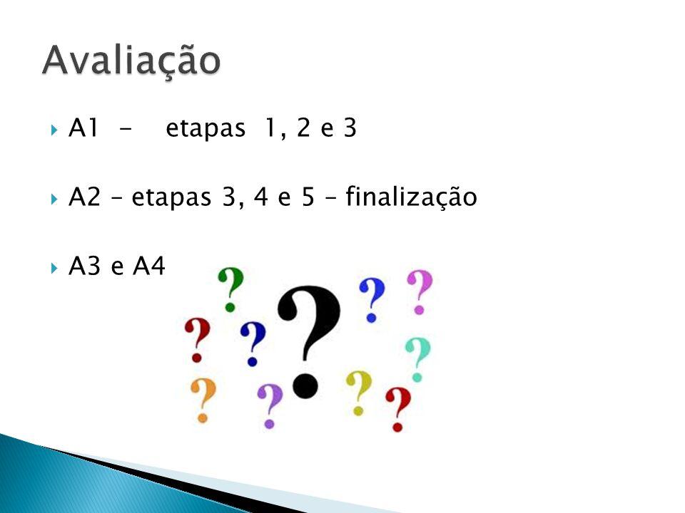 Avaliação A1 - etapas 1, 2 e 3 A2 – etapas 3, 4 e 5 – finalização