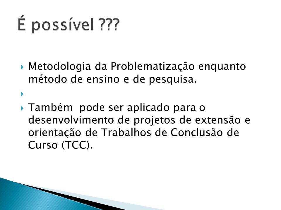É possível Metodologia da Problematização enquanto método de ensino e de pesquisa.