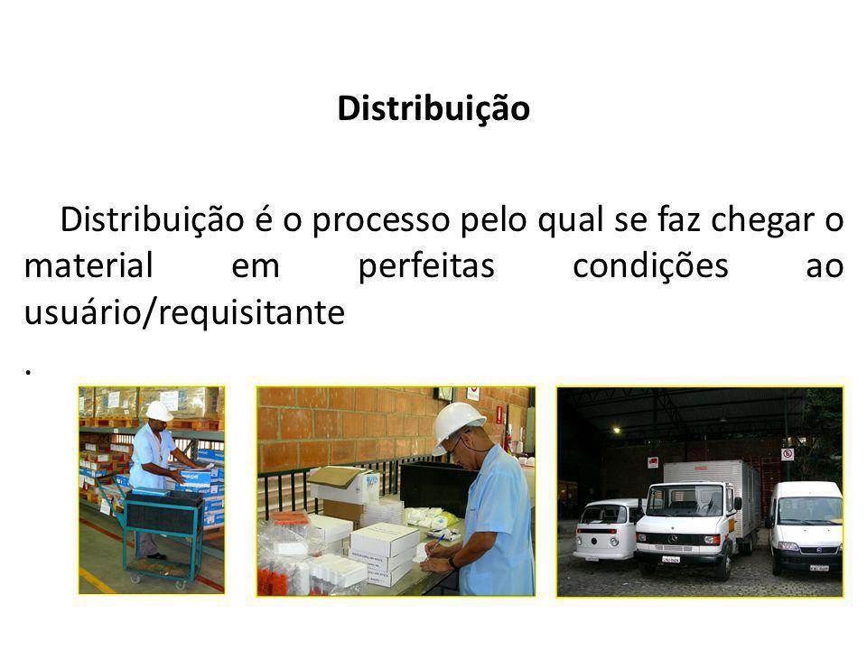 Almoxarifado Distribuição. Distribuição é o processo pelo qual se faz chegar o material em perfeitas condições ao usuário/requisitante.