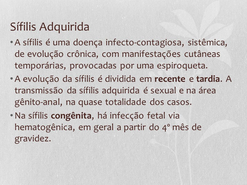 Sífilis Adquirida