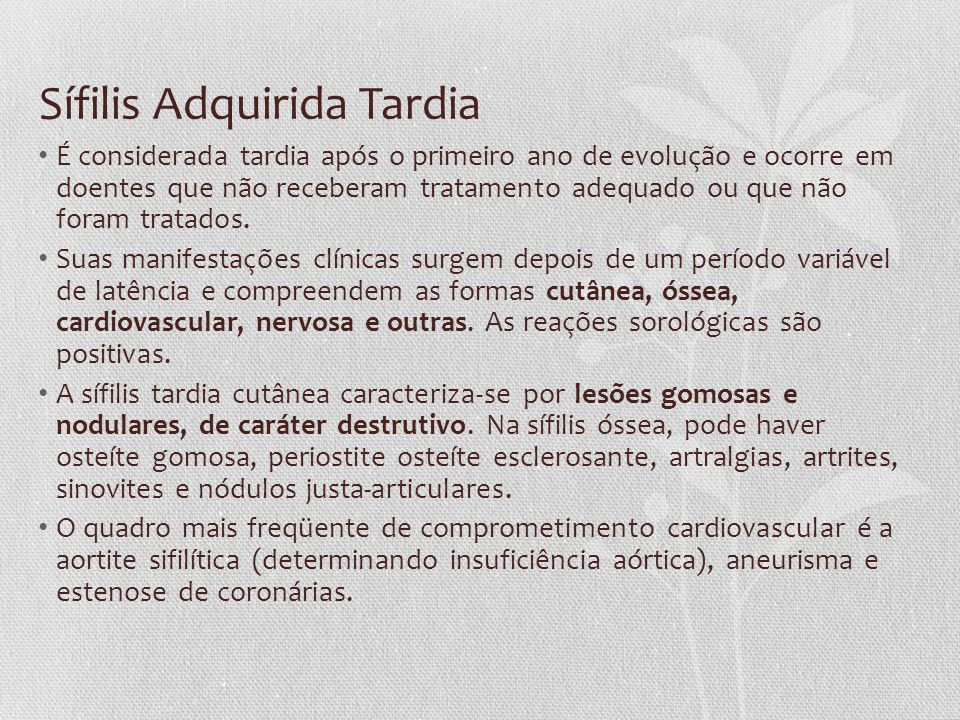 Sífilis Adquirida Tardia