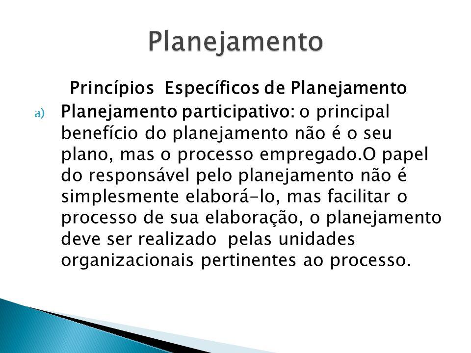 Princípios Específicos de Planejamento