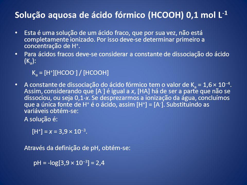 Solução aquosa de ácido fórmico (HCOOH) 0,1 mol L-1