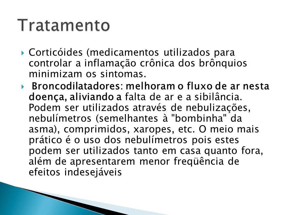 Tratamento Corticóides (medicamentos utilizados para controlar a inflamação crônica dos brônquios minimizam os sintomas.