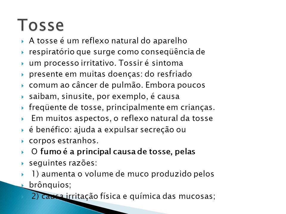 Tosse A tosse é um reflexo natural do aparelho