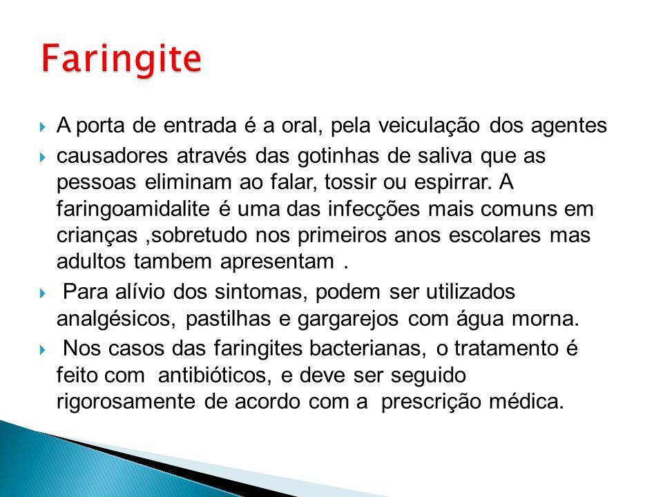 Faringite A porta de entrada é a oral, pela veiculação dos agentes