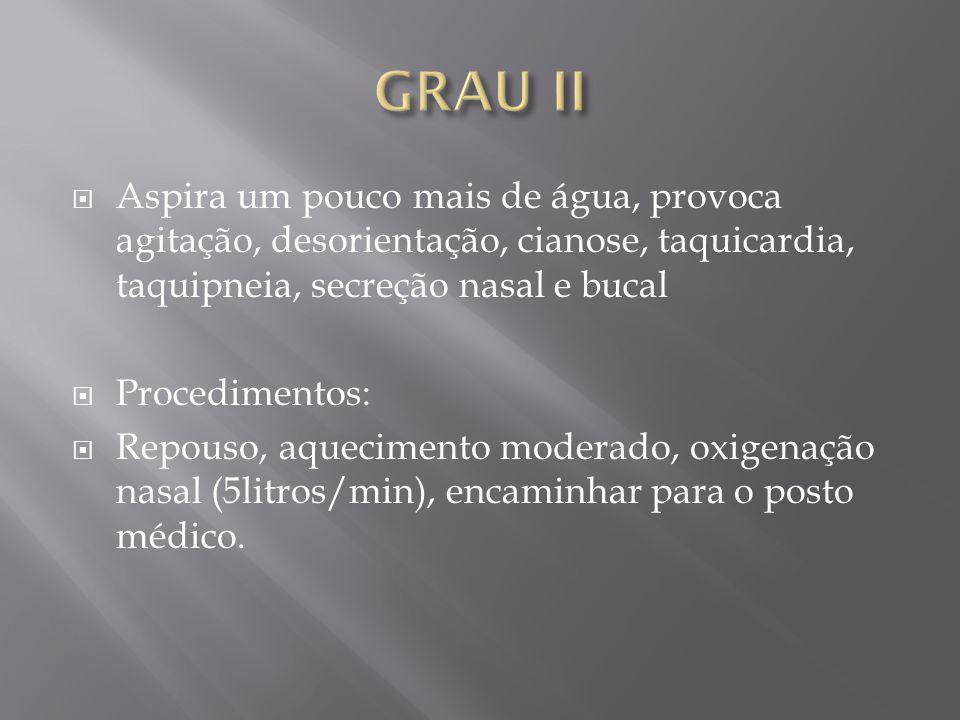 GRAU II Aspira um pouco mais de água, provoca agitação, desorientação, cianose, taquicardia, taquipneia, secreção nasal e bucal.