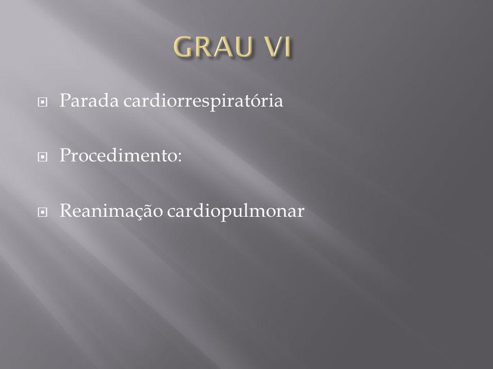 GRAU VI Parada cardiorrespiratória Procedimento: