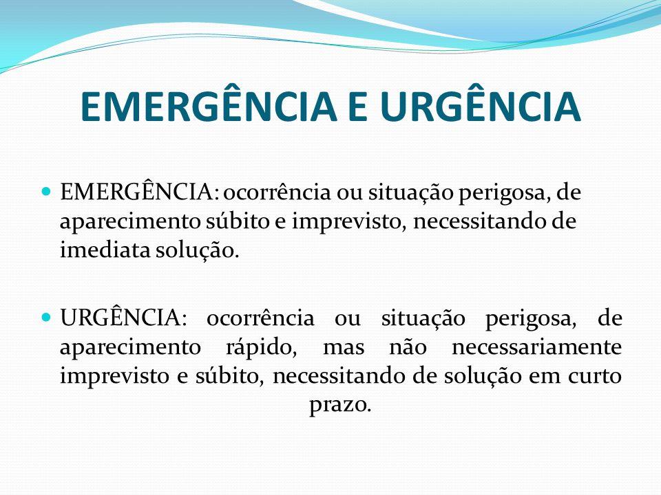 EMERGÊNCIA E URGÊNCIA EMERGÊNCIA: ocorrência ou situação perigosa, de aparecimento súbito e imprevisto, necessitando de imediata solução.